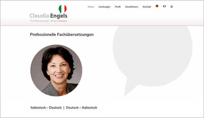 Beispiel Webseite von greme.de - Engels Übersetzungen