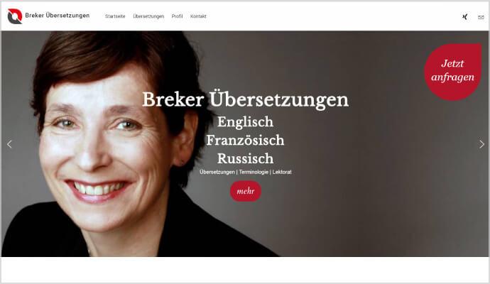 Beispiel Webseite von greme.de - Breker Übersetzungen