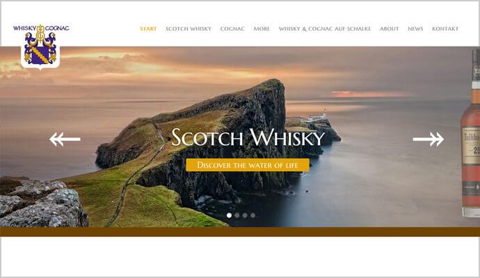 Beispiel Webseite sowie Logo von greme.de - Whisky & Cognac